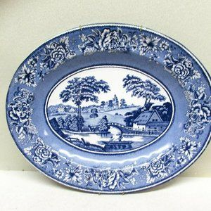 Daher England Blue and White Tin Metal Plate Oval